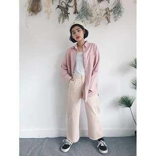 降價💕PER.粉色鬚邊打折布直筒寬褲
