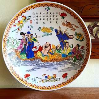 "Vintage Hand-Painted ""Ba Xian Guo Hai"" Chinese Porcelain Plate. 12"" dia. Pristine Condition, no chip no crack. Super Clearance Offer to make space! $15 only! Do not Miss. Sms 96337309."