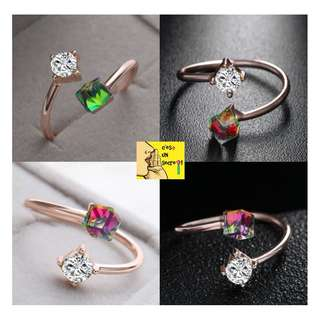 [BRAND NEW] [High Quality] [Ready Stock] Rose Gold Plated Cube Zircon Crystal Adjustable Colour Change Finger Ring