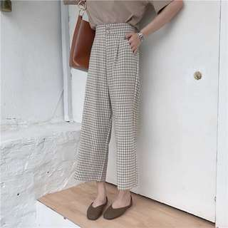Summer Korea chic high waist straight jeans student wild wide leg pants plaid pants