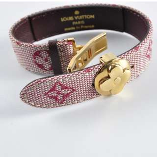 "AUTHENTIC LOUIS VUITTON ""WISH BRACELET"" IN CHERRY MINI LIN MONOGRAM CANVAS"