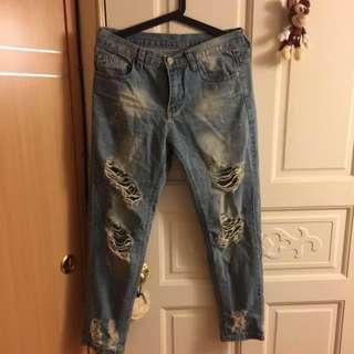 破壞褲 潑漆 牛仔褲