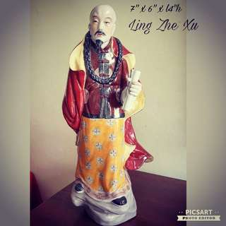 "Vintage Handmade Hand-Painted ""Ling Zhe Xu"" ( he burned Opium to stop Chinese getting hooked on it) Figurine from Jing De Zhen. Big, refer to dimensions in photos. Pristine Condition, no chip no crack. Clearance Offer $198 only! Do not Miss. Sms 96337309."