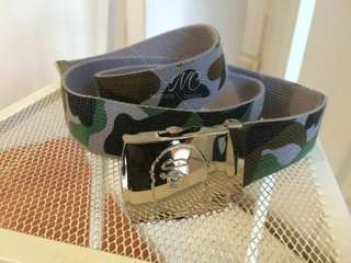 Unisex Japan Aape Canvas Ape Buckle Bape Camo Hip-hop Casual Adjustable Grey Belt