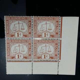 香港1938-63 欠資郵票 1分 (右下 四方連  清晰皇冠橫水印 )