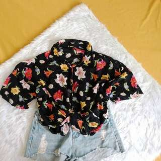 Oversize floral polo (can wear as cardigan)