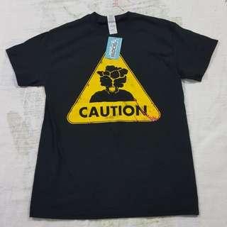 Legit BNWT Gildan Caution T-Shirt M Nerd Block Exclusive