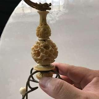 Old dragon carving ivory puteh tang Teng