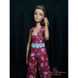 Red Floral Overall March 2018 Collection Barbie Clothes