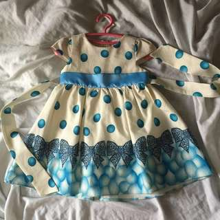 Blue Polka Dots Dress for Todlers