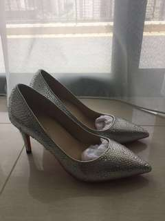 Crystal silver wedding shoes