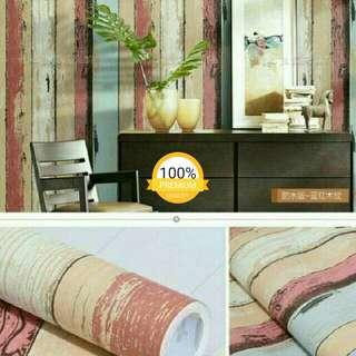 Grosir murah wallpaper sticker dinding kayu vintage merah biru cream
