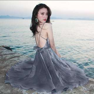 Silver Backless Maxi Strap Dress Instock