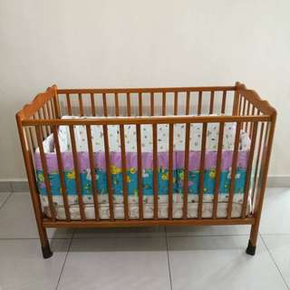 Wooden Baby Cot with mattress and side bedding