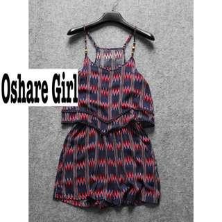 OshareGirl 05/18 歐美幾何圖騰蕾絲滾邊連身短褲 summer free