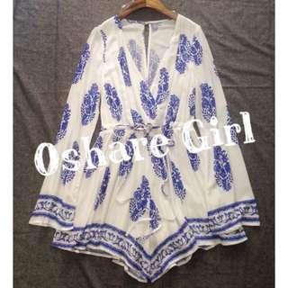 OshareGirl 05/18 歐美藍白羽毛圖騰優雅V領喇叭袖連身褲短褲 summer free