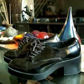 Zara Black Patent Leather Brogues