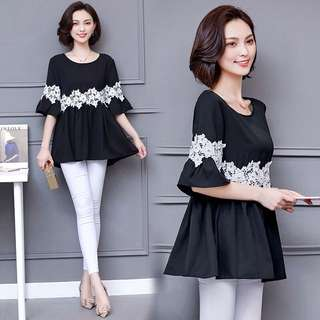 (L~5XL) Spring and summer clothes new wide chiffon shirt