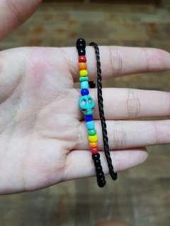 handmade beaded braided skull rainbow Bracelet
