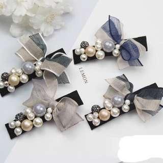韓國東大門新款珍珠蝴蝶結拼色髮夾側邊夾髮飾