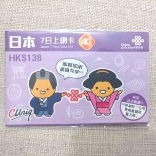 日本7日上網卡 4G 網絡共享 原價$138