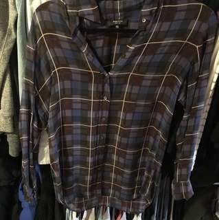 Aritzia babaton checkered silk blouse