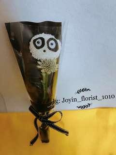 獨家 乒乓菊 熊貓 鮮花球 生日禮物 驚喜 情人節禮物