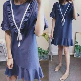 (XL~5XL) Korea Summer Fungus Long Midi Ruffle Dress