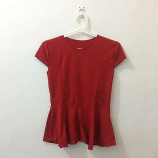 Red Peplum (S-M)