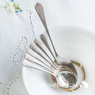 Very pretty 7-piece vintage silver-plated dessert spoon set, embossed little flowe