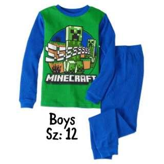 NWT Boys minecraft 2pc Thermal Set