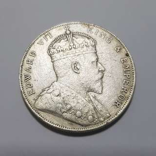 Straits Settlements 1909 King Edward VII One Dollar Silver Coin