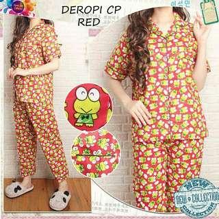 2 Warna Setelan baju tidur wanita Set Piyama Deropi piyama katun motif