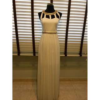 Evening Gown/ white gown/ white dress/ white maxi dress/ cleopatra/ prom dress/ dnd dress/ embellished white dress