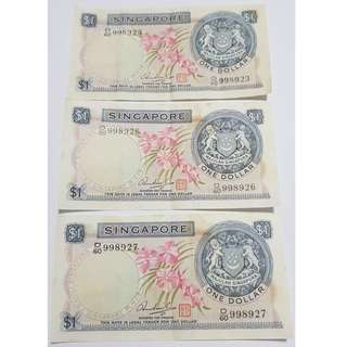 Singapore Orchid Series 3 Pieces Consecutive Serial Numbers One Dollar Notes