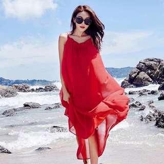 紅色雪紡露背美背連身裙 沙灘裙 度假裙 質感很好 飄逸感喔!