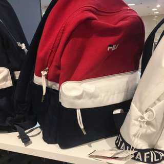 Closed authentic FILA korea heritage red backpack bagpack