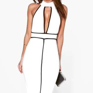 Alex High Neck Contrast Piping Midi Formal Dress WHITE Size 8