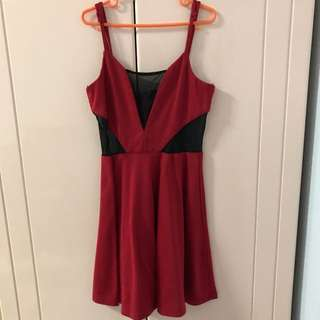 (BRAND NEW) F21 Red Dress with Mesh Details