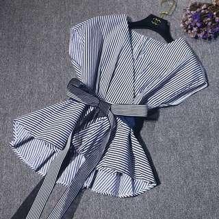(More cols) Kimono Pin stripe wrap blouse