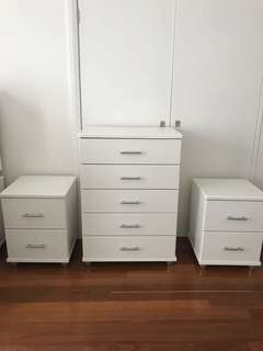 Tallboy and 2 side tables as a SET