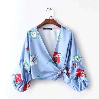 Scrunched sleeve kimono wrap blouse