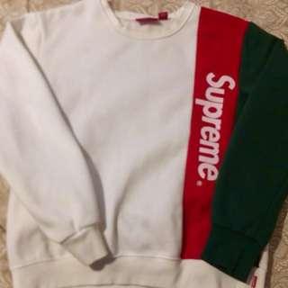 White/red/&green supreme sweater