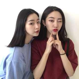 夏季新款韩国ulzzang原宿BF风宽松短袖t恤女学生纯色打底衫上衣潮