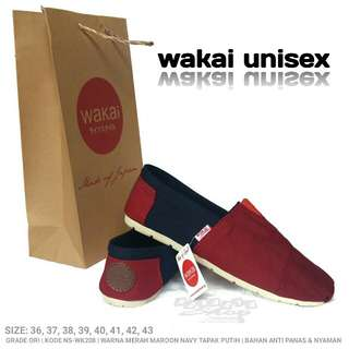 Wakai Unisex Warna Merah Maron Navy