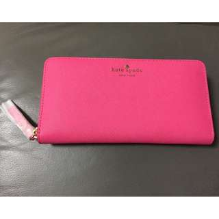 Kate Spade 螢光粉紅拉鍊長銀包 銀包 WLRU1689-1 Mika Spond Lacey Zip Around Continental Wallet