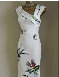Karen Millen Signature white floral orchid dress