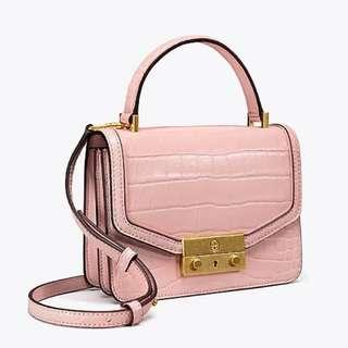 Authentic Tory Burch Juliette Embossed Mini Top Handle Crossbody Bag