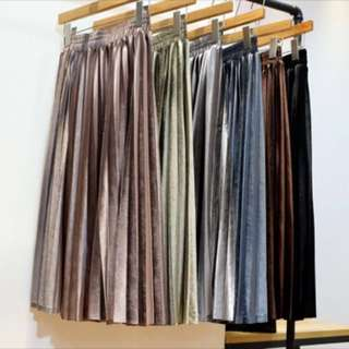 Velvet Long Pleated Skirt