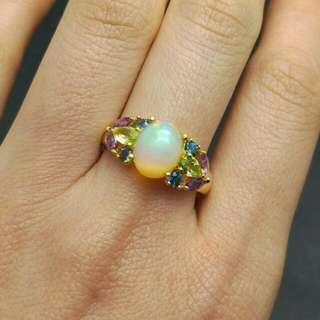 Opal Peridot Topaz Amethyst Natural Gemstones 925 Sterling Silver Ring For Women